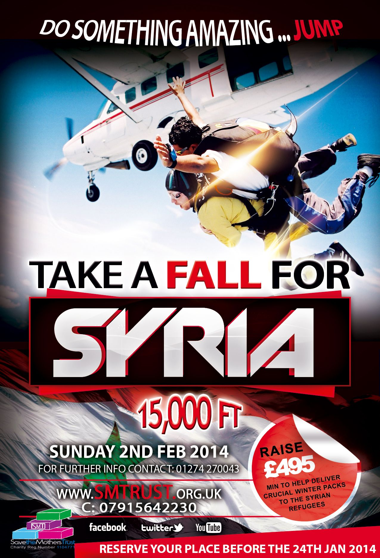 Poster campaign for skydive in aid of Syrian refugees